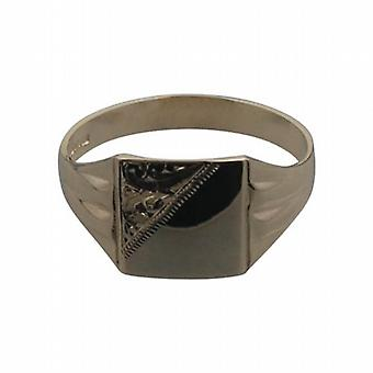 9ct Gold 11x11mm gents engraved square Signet Ring Size X