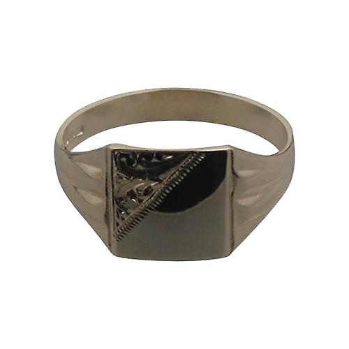 9ct Gold 11x11mm gents engraved square Signet Ring Size U