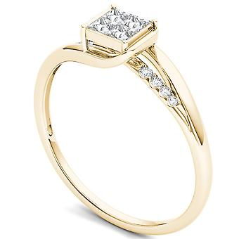 IGI Certified 14k Yellow Gold 0.23Ct Princess Diamond Engagement Fashion Ring