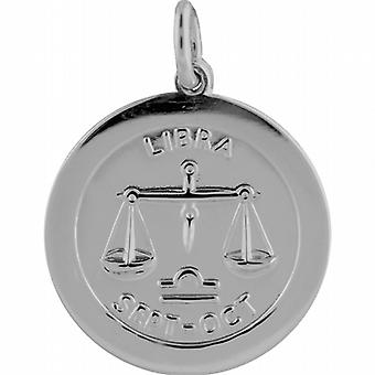 Серебряный 22 мм раунд зодиака Весы диск кулон