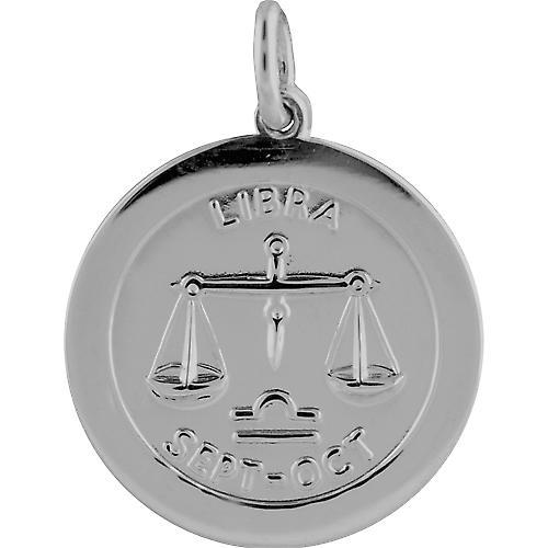 Silver 22mm round Zodiac disc Libra