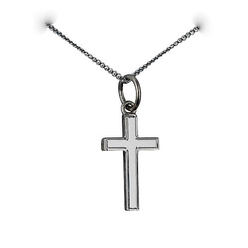 9ct white gold 15x9mm Engine turned lined border solid block Cross with a curb chain