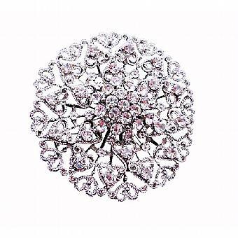 Sparkling Wedding Silver Casting Round Fully Embedded CZ Brooch