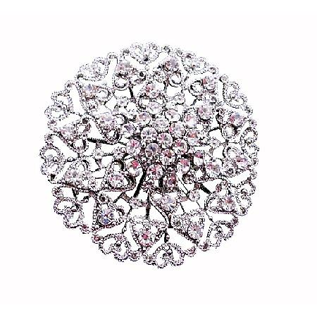 Sparkling Wedding Silver Casting Round Fully Embedded CZ Brooch