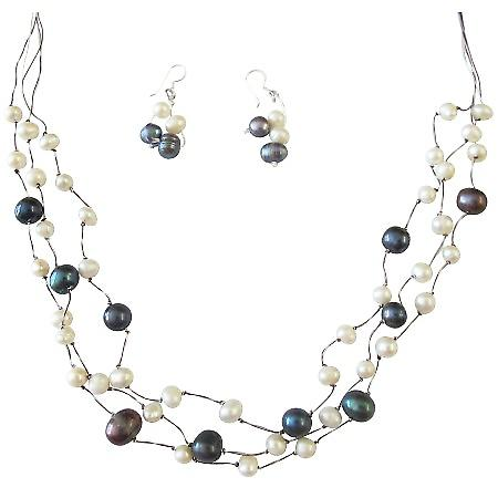 Dark Blue White Freshwater Pearls Jewelry Three Stranded Silk Necklace