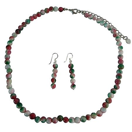 Simulate Fancy Agate Beads Necklace w/ Sterling Silver Earrings Handcrafted Jewelry