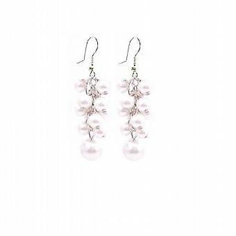 Vita pärlor örhängen tillverkade druva gäng örhängen Wedding Prom gåva