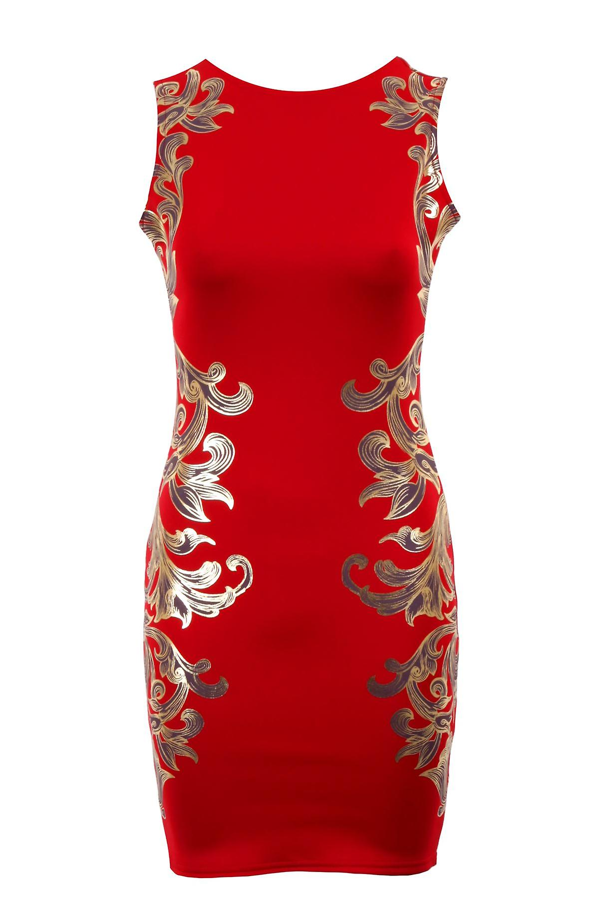 Ladies Gold Floral Embossed Leaf Print Bodycon Low Back Zip Women's Party Dress