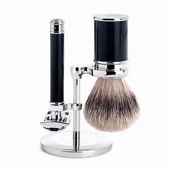 Muhle zwart en chroom Safety Razor & Shaving Brush Set