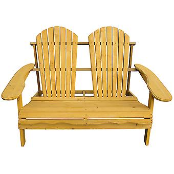 Wooden Outdoor Adirondack Garden Companion Loveseat Partner Bench - Garden Patio