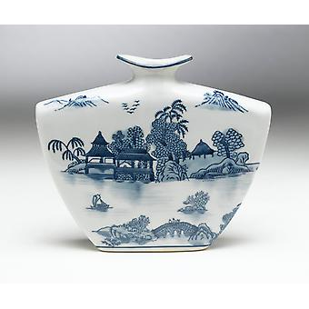 AA 59725 plat blauwe en witte vaas importeren