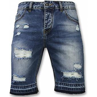 Men's short trousers-Slim Fit Ripped Shorts-Blue