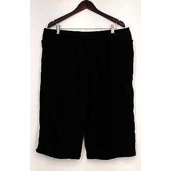 Atención Pantalones Capri Longitud Detallada con Bolsillos Negro Mujeres