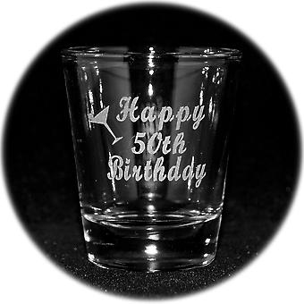 2oz happy 50th birthday shot glass
