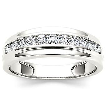 IGI Certified Real 10k White Gold 0.50 Ct Diamond Men's Wedding Band Ring