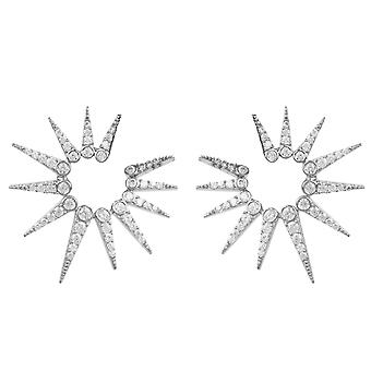 Spikey Ear Jacket Earrings CZ Gemstone White Latelita  925 Sterling Silver Stud