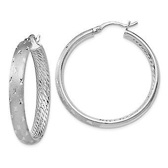 5mm 925 Sterling Silber poliert Hinged Reifen Rhodium-beschichtet Rhodium In Out Sparkle-Cut Ohrringe