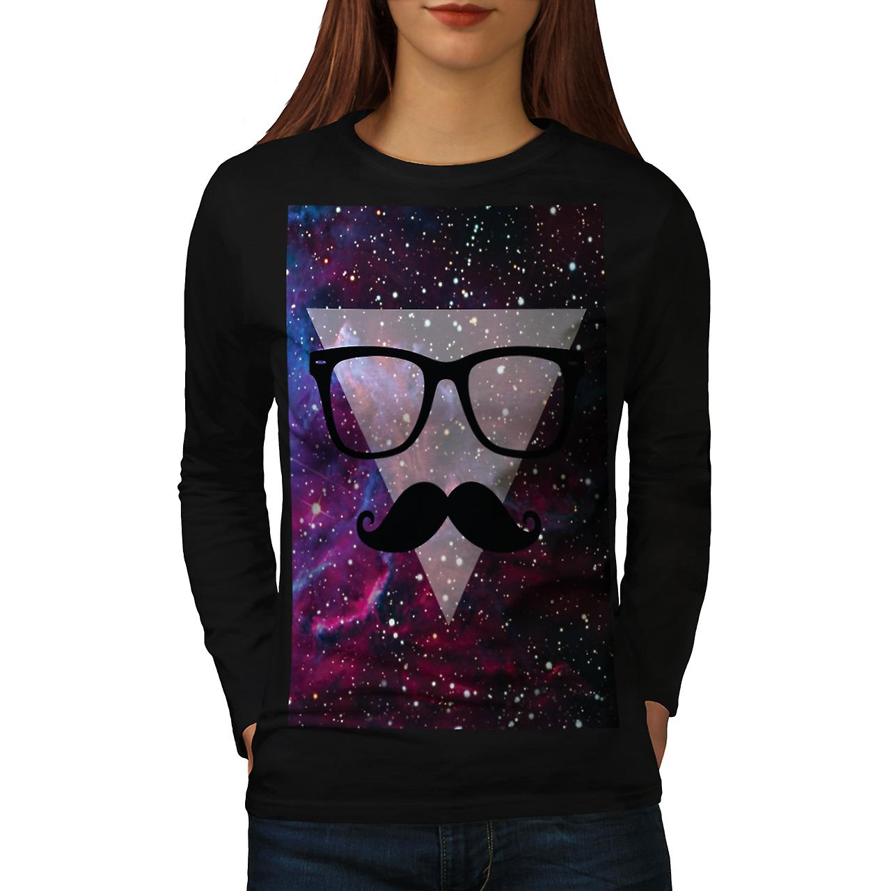 Master Disguise Space Funny Face Women Black Long Sleeve T-shirt | Wellcoda