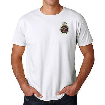 HMS Sentinel geborduurd Logo - officiële Koninklijke Marine Ringspun T Shirt