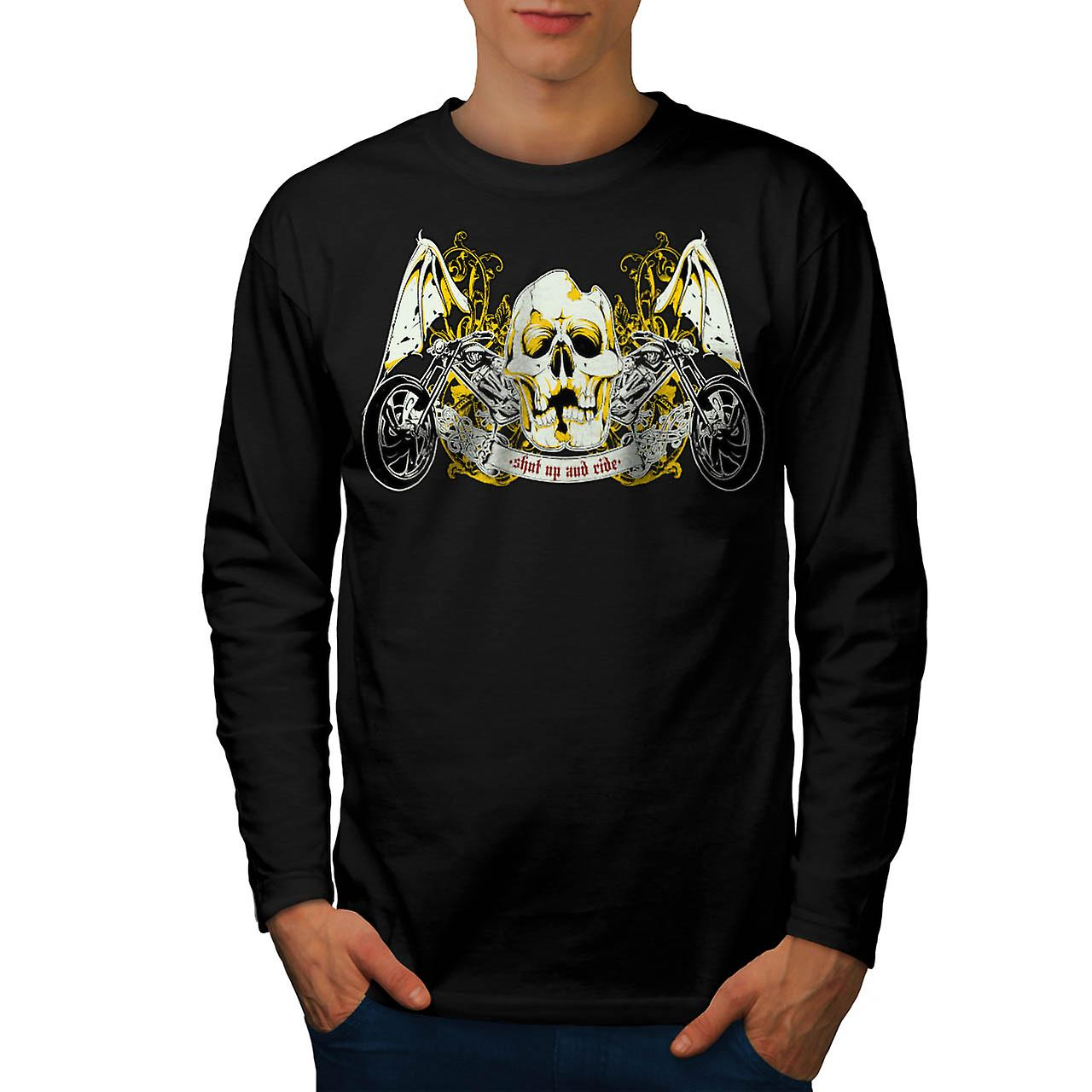 Skull Ride Biker Trip Road King Men Black Long Sleeve T-shirt | Wellcoda