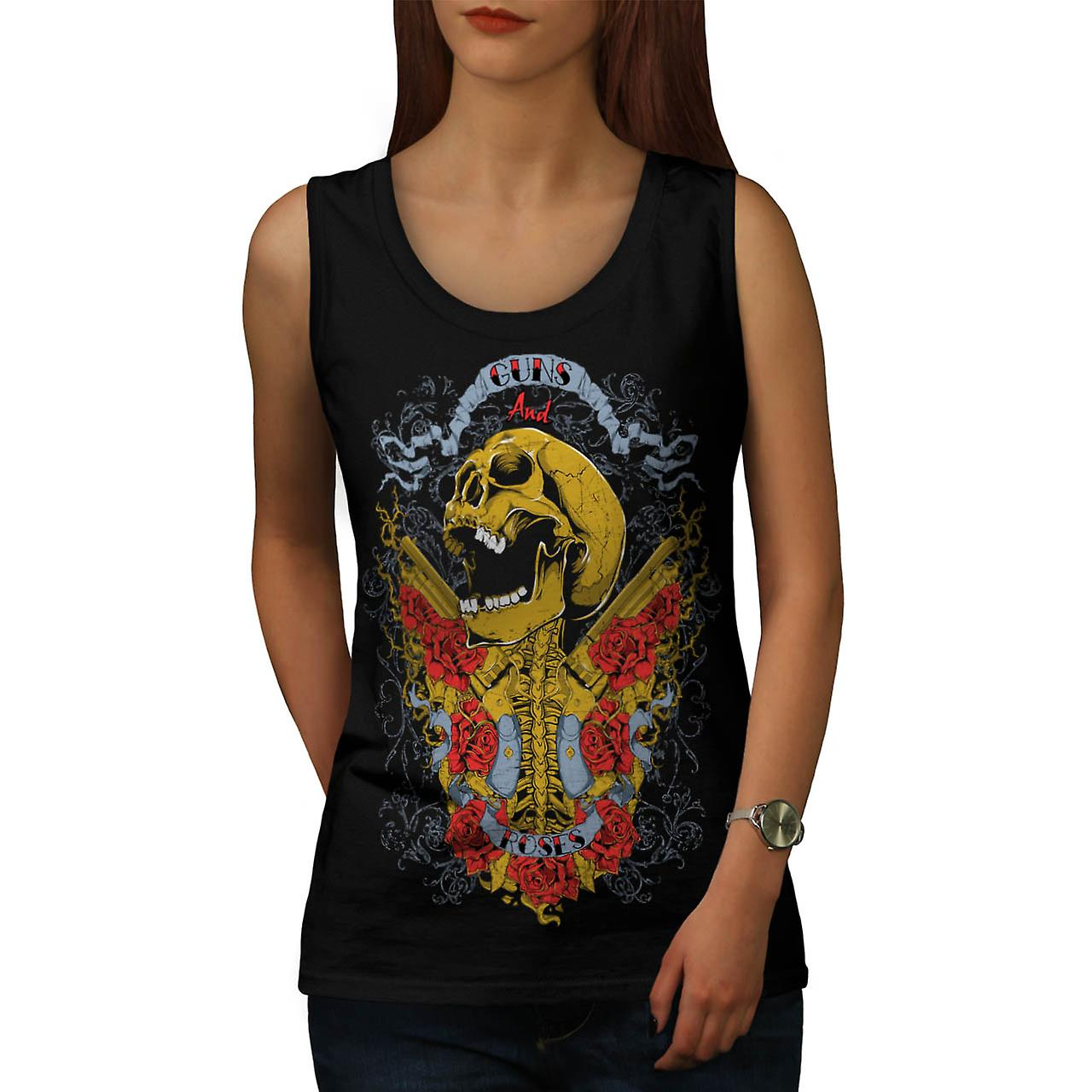 Guns And Roses Skull Music Hero Women Black Tank Top | Wellcoda