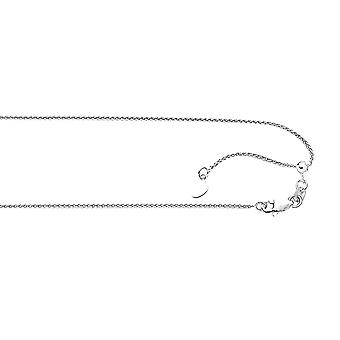 10k White Gold 1.0mm Sparkle-Cut Adjustable Wheat Chain With Lobster Clasp Necklace - 22 Inch