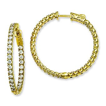 Sterling Silver Polished Prong set Hinged hoop Safety clasp Gold-Flashed With Cubic Zirconia Round Hoop Earrings