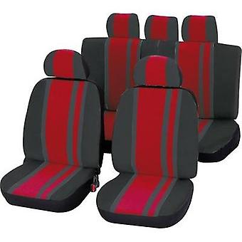 Seat covers 14-piece Unitec 84958 Newline Polyester Red, Black