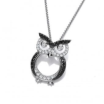 Cavendish French CZ and Silver Owl Pendant without Chain