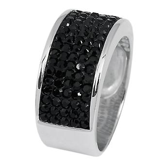 Burgmeister band ring JBM1124,  925 sterling silver rhodanized black Swarovski crystal