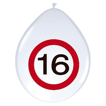 Balloon of balloons 8 St. traffic sign number 16 birthday 30 cm decoration party