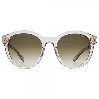 Chloe Cate Temple Round Sunglasses In Crystal Turtledove