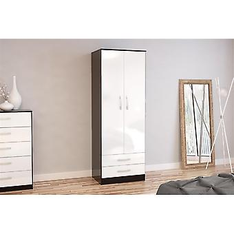 Birlea Lynx 2 Door Combi Robe Black & White