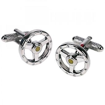 Onyx-Art Steering Wheel Cufflinks With Crystals