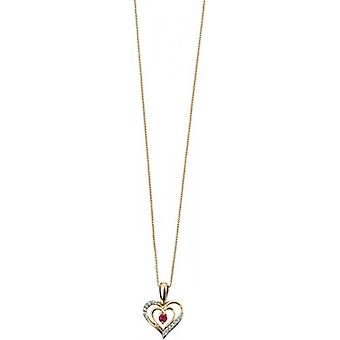 Elements Gold Skylight 9ct Gold Ruby and Diamond Heart Pendant - Red/Gold