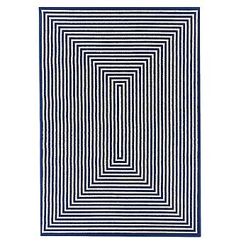 Outdoor carpet for Terrace / balcony blue white vitaminic braid Navy 200 / 285 cm carpet indoor / outdoor - for indoors and outdoors