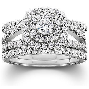 1 1 / 4ct Diamond Engagement kussen Halo trouwring Trio Set 10K witgoud