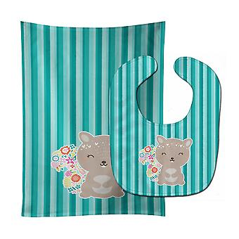 Carolines Treasures  BB6936STBU Flowered Squirrel Baby Bib & Burp Cloth