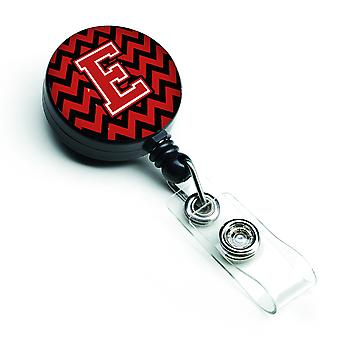 Letter E Chevron Black and Red   Retractable Badge Reel