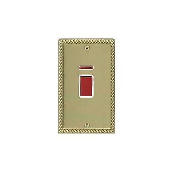 Hamilton Litestat Cheriton Georgian Polished Brass 45A DP+N VERTICAL Red Rkr/WH