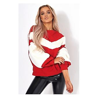 The Fashion Bible Red Faux Fur Sweatshirt