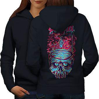 Fashion Horror Pool Skull Women NavyHoodie Back | Wellcoda