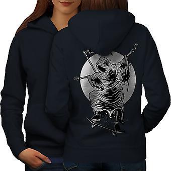 Reaper Skateboard Horror Women NavyHoodie Back | Wellcoda