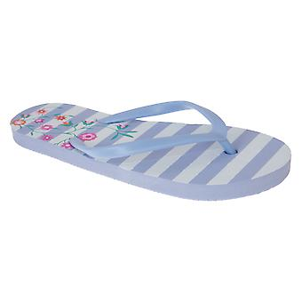 Sand Rocks Womens/Ladies Flower Stripes Flip Flops