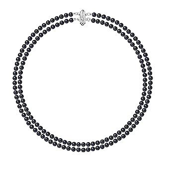 Collar woman 2 ranks in pearls of freshwater black and silver clasp 925/1000