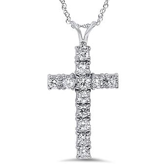 1ct Diamond Cross Pendant 14K White Gold