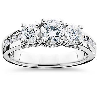2ct Diamond Three Stone Ring 14K White Gold