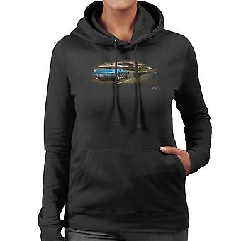 Chevrolet Corvette Stingray Convertible Desert Art Black Women's Hooded Sweatshirt