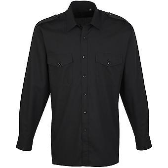 Premier Mens Long Sleeve Polycotton Corporate Business Pilot Shirt