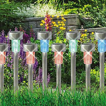 10 x kolor zmiana ze stali nierdzewnej Solar Powered ogród zapala latarnie